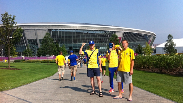 The fans before the storm in Donetsk...