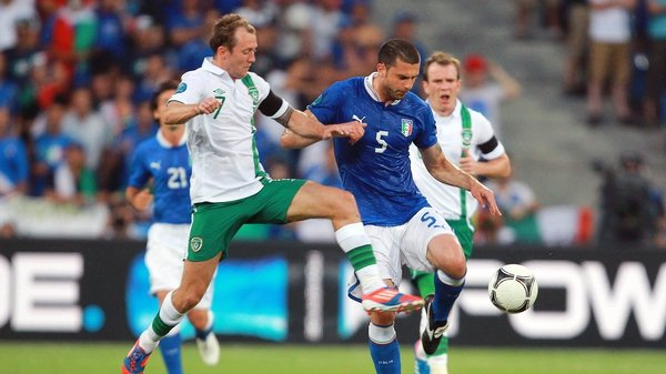 Thiago Motta is tackled by Republic of Ireland's Aiden McGeady