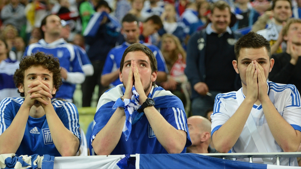 Greek supporters come to terms with their side's exit for Euro 2012