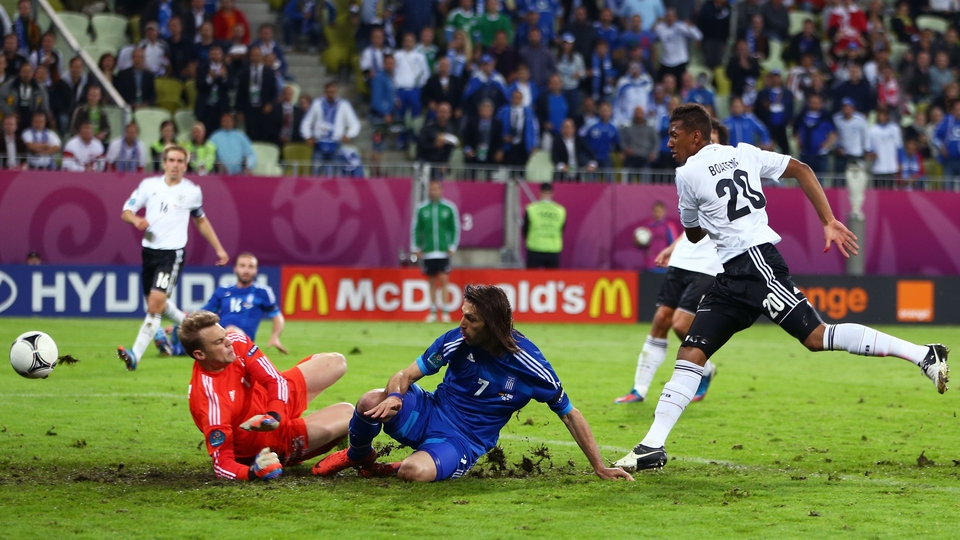 Giorgios Samaras stunned the huge German support when he equalised for Greece