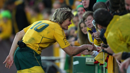 Berrick Barnes is deservedly congratulated after the game