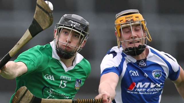 Limerick's Graeme Mulcahy and Gearoid Burke of Laois