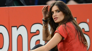 Sara Carbonero, reporter and fiancée of Iker Casillas, looks on