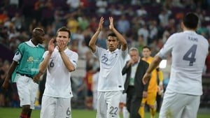 France's Yohan Cabaye and Gael Clichy salute their supporters