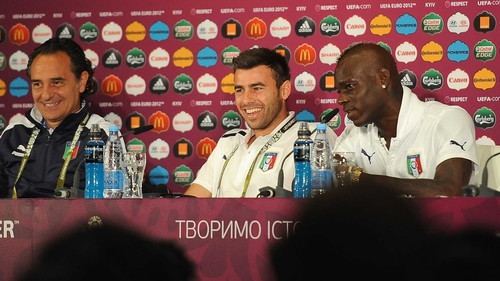 (L to R) Cesare Prandelli, Andrea Barzagli and Mario Balotelli talk to the press ahead of tonight's quarter-final