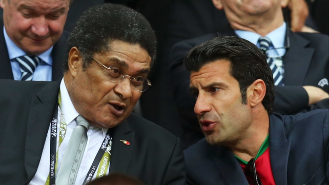 Portugal greats Eusebio and Luis Figo at the Portugal v Czech Republic match