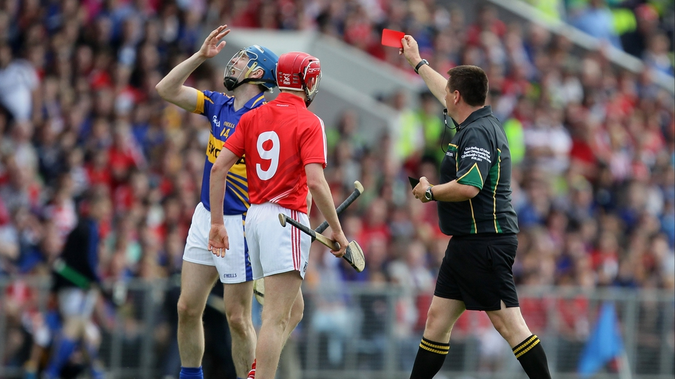Tipperary's John O'Brien is dismissed after picking up two yellow cards