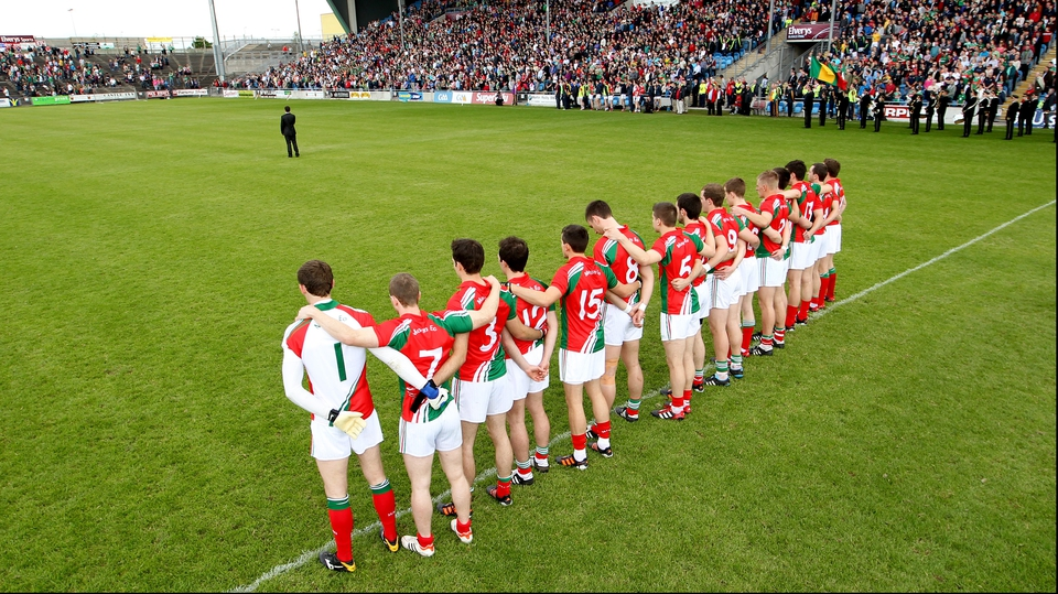 The Mayo team during the national anthem
