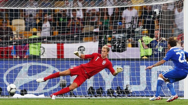 Alessandro Diamanti of Italy scores the winning penalty past Joe Hart of England