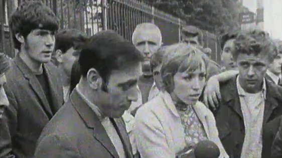 The people of Divis Street, Belfast give their views to RTÉ News on a night of violence on 15 August, 1969.