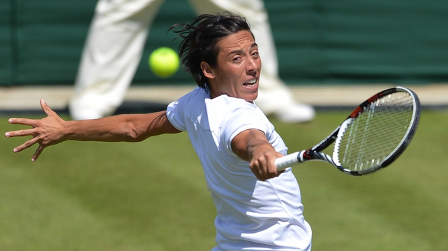 Francesca Schiavone survived break point in the second set