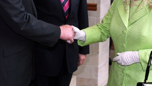 A close-up view of that famous handshake