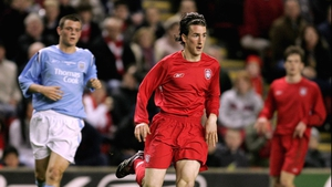 Miki Roque in action for Liverpool during the FA Youth Cup Final 1st Leg against Manchester City in 2006
