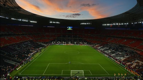 The Donbass Arena in Donetsk prepares to host the Portugal v Spain encounter