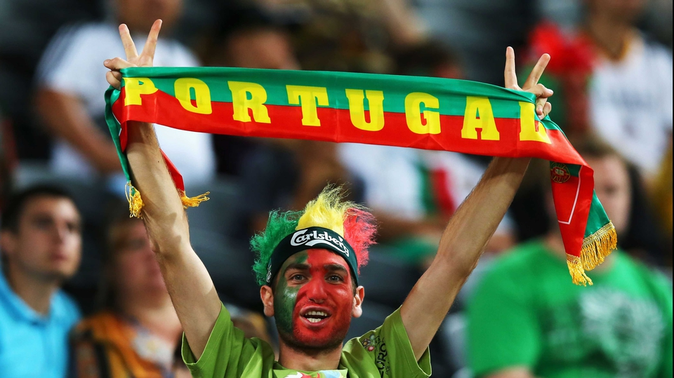 A Portugal fan in high spirits ahead of the game