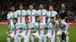 The Portugal XI poses for a pre-match photo