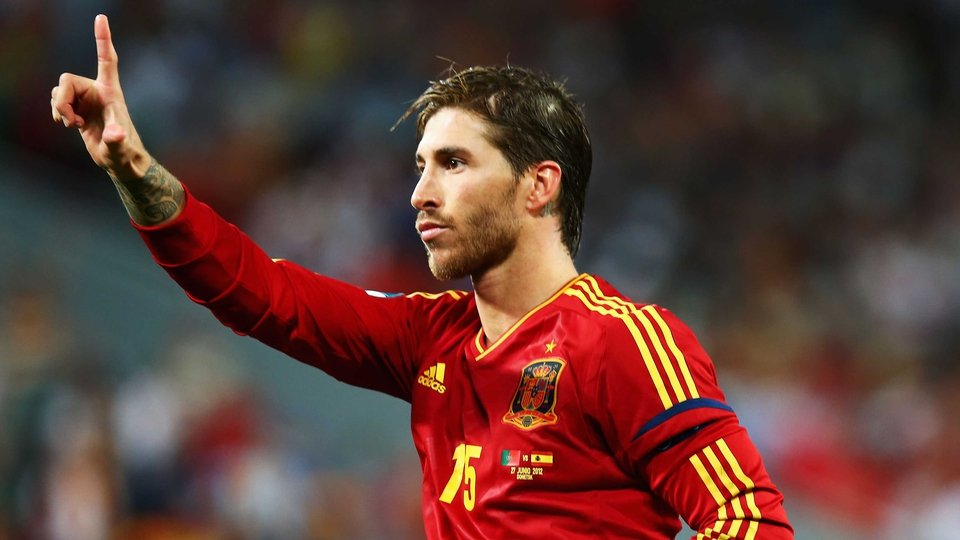 Sergio Ramos celebrates his Pirlo-esque penalty in the shoot-out