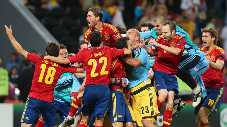 The Spanish side celebrate reaching the Euro 2012 final