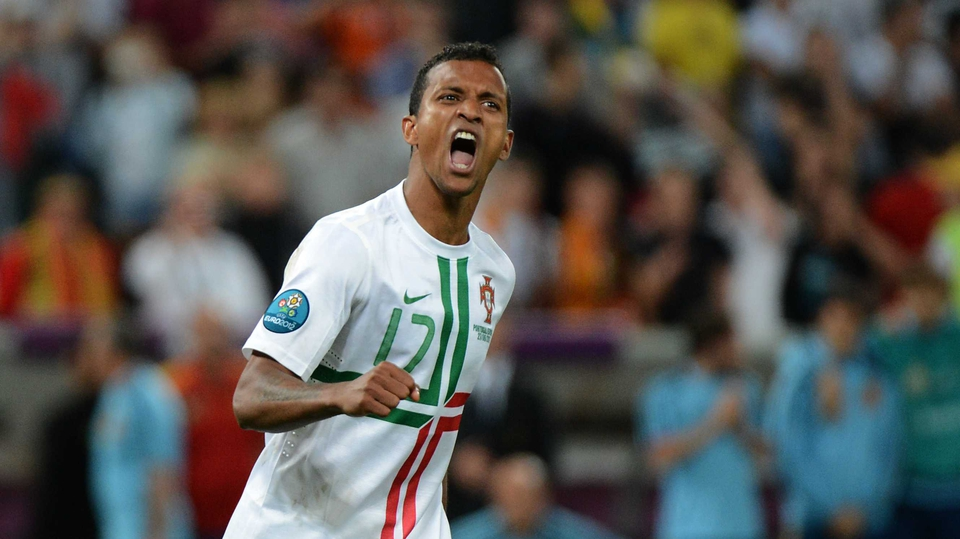 Nani shows his delight after netting a brilliant penalty