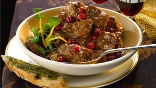 Fillet Beef Casserole with Cranberries and Port