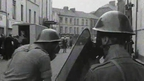 British troops pictured by RTÉ News setting up barricades in Derry on 14 August 1969.