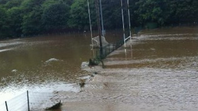 Flooding on Glanmire GAA pitch (Tweet pic submitted by Michael Cussen)