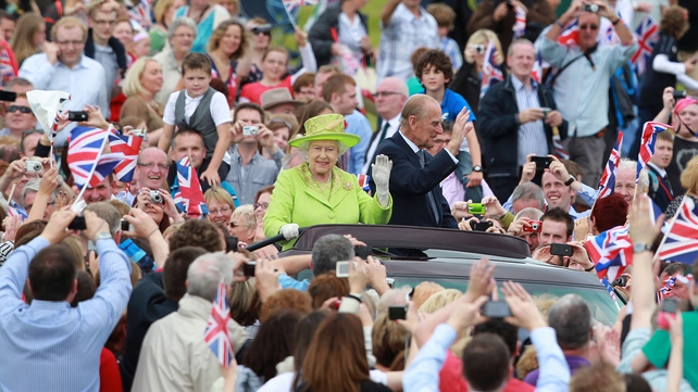 The Queen and the Duke then went to Stormont for a garden party