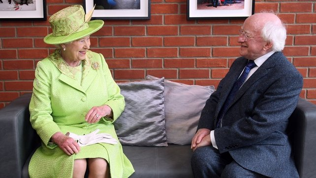The Queen and President Higgins had a meeting at the theatre