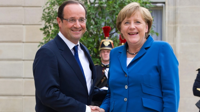 Francois Hollande and Angela Merkel last night agreed on the need for a €130bn growth strategy
