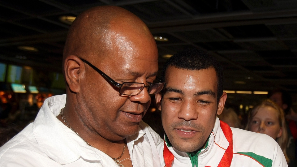The late Darren Sutherland is seen here with his father Tony