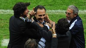 But Cesare Prandelli was left to celebrate a wonderful victory with Demetrio Albertini