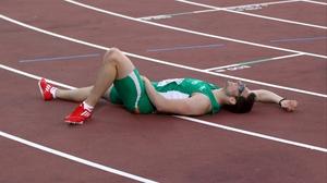 Brian Gregan nurses a groin injury after his 400m final
