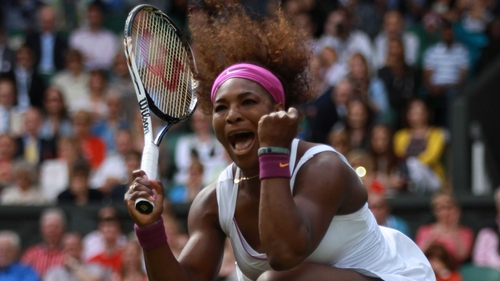 Williams shows her delight after being pushed all the way by her Chinese opponent