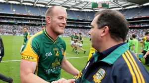 Meath forward Joe Sheridan and manager Séamus McEnaney celebrate after the game