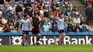Referee Rory Hickey gives Dublin's Diarmuid Connolly his marching orders