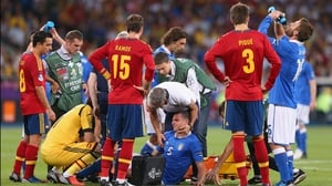 Thiago Motta had to go off injured after coming on meaning that the Italians had to play most of the second half with 10 men