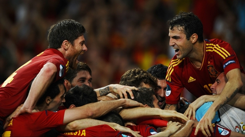 Spain celebrate at the final whistle