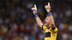 Iker Casillas celebrates Torres' goal