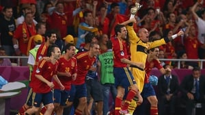 The Spanish bench express their delight on another night of triumph for the side