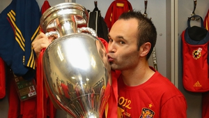 Andres Iniesta, scorer of the winning goal in the 2010 World Cup final, has been named as the best player of EURO 2012