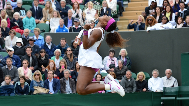 Serena Williams jumps for joy after her 6-1 2-6 7-5 win over Yaroslava Shvedova