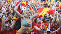 The Spanish players head home to a massive party in Madrid
