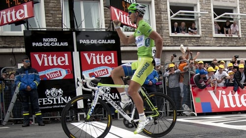 Peter Sagan crosses the finish line