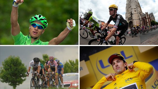 Mark Cavendish (top right) has a chance to emulate Lance Armstrong, who won 22 stages of the Tour de France