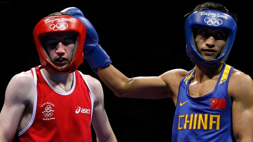 Paddy Barnes (left) was beaten by Shiming Zou (right) at the semi-final stage in Beijing 2008