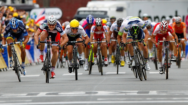 Andre Greipel (second from left)  secured a second consecutive stage success on Le Tour in a sprint finish in Saint-Quentin