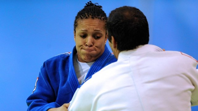 Fench judo triple world champion, Lucie Decosse (left) trains with national coach and judo world champion Larbi Bendoudaoud