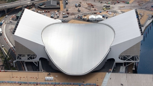 The Aquatic Centre has a space age feel to its exterior