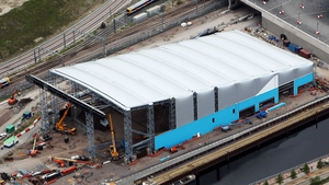 The Water Polo Centre is seen here while still under construction