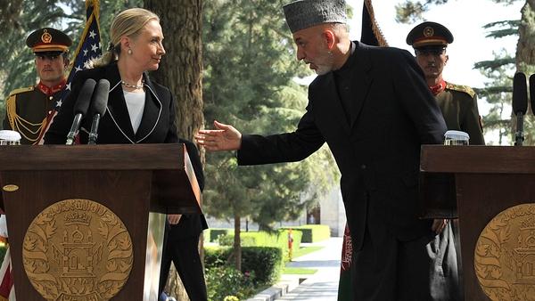 Hillary Clinton and Hamid Karzai met in Kabul this morning